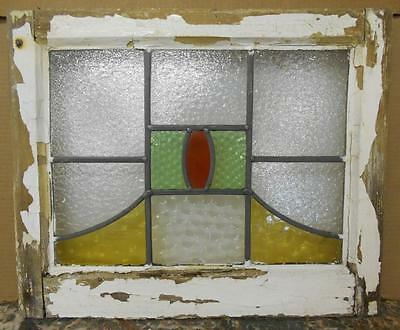 "OLD ENGLISH LEADED STAINED GLASS WINDOW Abstract Symetric Design 20.75"" x 17.75"""