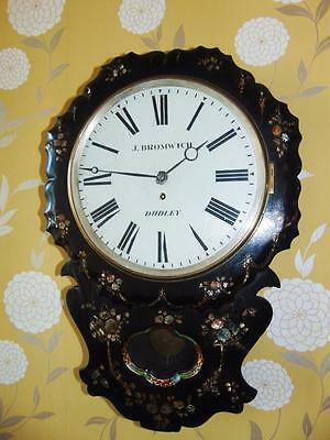 Victorian Fusee Papier Mache & Mother of Pearl Wall Clock, J. Bromwich Dudley