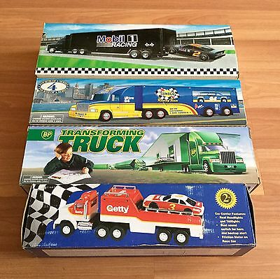 90S Bp Getty Mobil Sunoco Toy Race Car Carrier Transforming Truck Store Lot Of 4