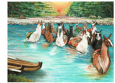 New  llama Animals River Oil Art Print