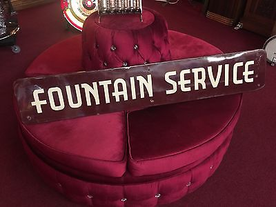 """Porcelain Advertising Sign FOUNTAIN SERVICE large 63""""    """"WATCH VIDEO"""""""