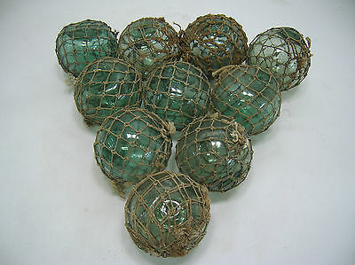 """Vintage Glass Fishing Floats 10 all in fine natural nets 3""""- 3.5"""" Japanese"""