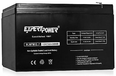 ExpertPower EXP1270 Black 12V 7 Amp Rechargeable Lead Acid Battery NEW IAB