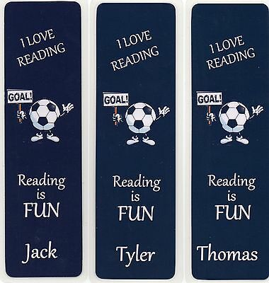 3 CHILDRENS PERSONALISED FOOTBALL BOOKMARKS,BLACK/WHITE 18cm x 5cm LAMINATED.