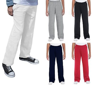 Boys Girls Childrens School Kids Fleece Jogging Bottoms Joggers Jog Pants White