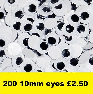 Wiggly Googly Eyes 10mm Black Pack of 200. Self Adhesive.
