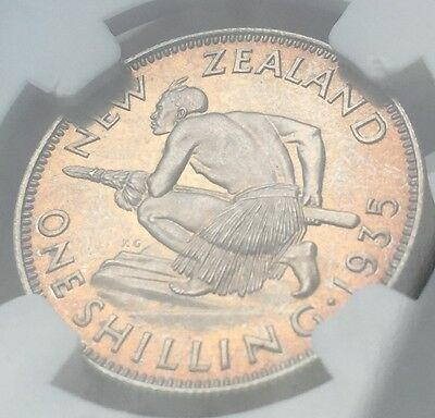 1935 New Zealand Shilling Silver Proof Coin NGC PF66  2nd Top Grade 364 Minted