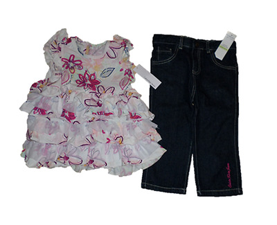 New Calvin Klein 2Pc Girls Outfit Set 4-5 4 Years Floral Top Jeans Set Auth