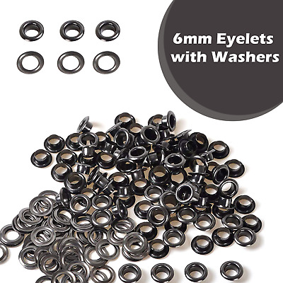100 x 6mm Gun Metal Black Eyelets & Washers Grommets for Leather Craft Inner 6mm