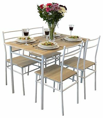 Harbour Housewares 5 Piece Kitchen Dining Room Table & Chairs Set - White