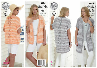 King Cole Ladies Double Knitting Pattern Lace Effect Waistcoats Vogue DK 4454
