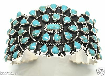 Taxco Mexican 925 Sterling Silver Turquoise Beaded Bead Cuff Bracelet Mexico