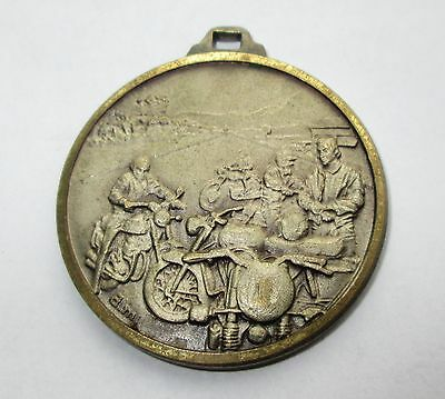 ITALIAN MOTORCYCLE RALLY RUN TOUR MOTORCYCLIST MEDAL FOB signed d.m.