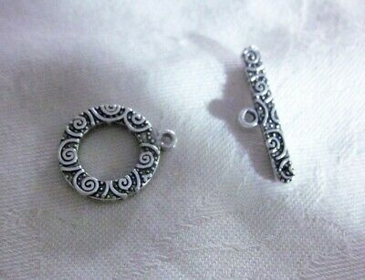 5 Toggle Clasps 19x16mm Antique Silver #3212 Combine Post-See Listing