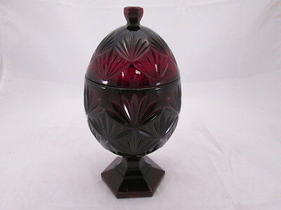 Luminarc Cris D'Arques Durand Ruby Blood Red Egg Shape Footed Covered Candy Dish