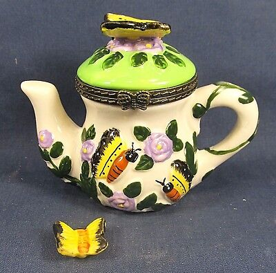 Butterfly Teapot Ceramic Trinket Box w/trinket Collectible Decor