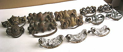 Large Lot Of Antique Brass Drawer Pulls