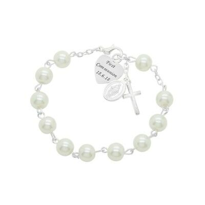 Personalised Rosary Beads, Single Decade Rosary Bracelet, White or Pink Pearls.