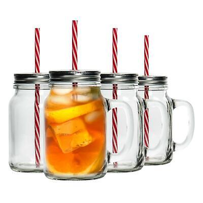Jam Jar Mason Drinking Cocktail Glasses With Handle, Covers & Straws - 620ml x4