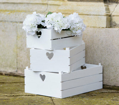 White Wooden Storage Box Crate with Heart Cut Out 3 sizes - Pretty Home Storage & WHITE WOODEN STORAGE Box Crate with Heart Cut Out 3 sizes - Pretty ...