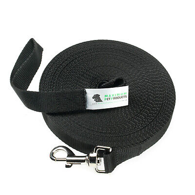 50ft Black Dog Lead & Horse Training Leash. 15m long 25mm Wide Webbing With Clip