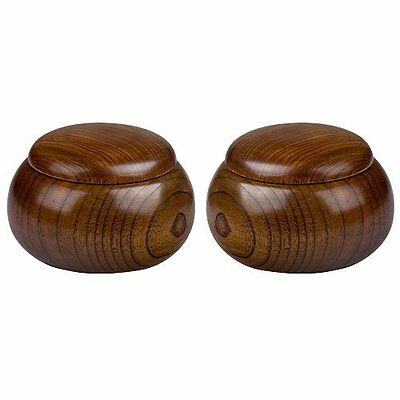 Pair Of 2 Wooden Go Game Pieces Holder Bowls
