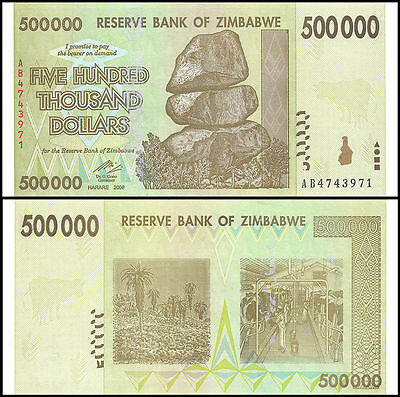 2008 Zimbabwe 500,000 Dollar Bank Note-UNC Cond-A50