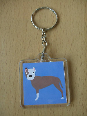 I Love My Pit Bull Keyring Bag Dog Puppy Acrylic Blue Handmade American Terrier