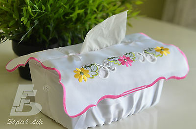 Tissue Box Cover, Embroidered  Flowers, FFDWY051