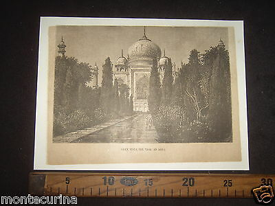 1877 India Viale Taj Mahal Agra Mausoleo Antica Stampa Antique Engraving D179