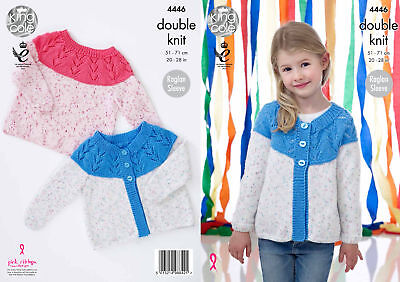 King Cole Girls Knitting Pattern Lace Yoke Cardigan & Sweater Smarty DK 4446