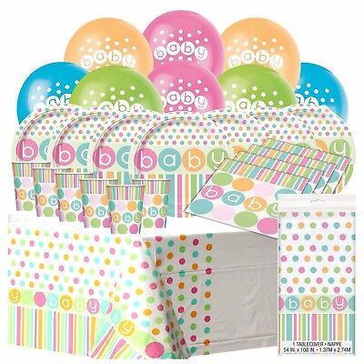 PASTEL BABY- Essential Shower Party Pack,Plates,Napkins,Balloon,Unisex Table Kit