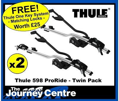 Thule 598 ProRide TWIN PACK Roof Mount Bike Carrier Replaces 591 FREE LOCK MATCH