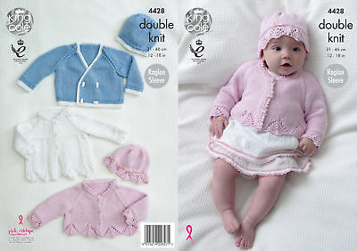 King Cole Baby Double Knitting Pattern Matinee Coat Cardigan Jacket Hats DK 4428