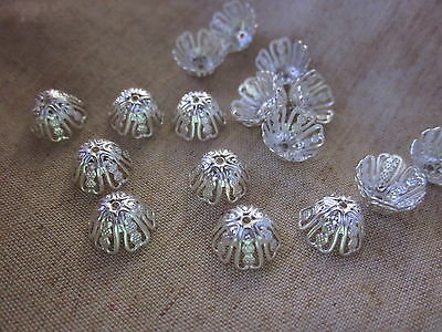 30 Silver Coloured 11x6mm Filigree Bead Caps #bc3216 Combine Post-See Listing