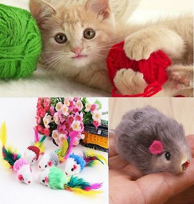 Cute Cat Toy Fur Mouse Mice Kitten Treat Feather Tail Pet Rod