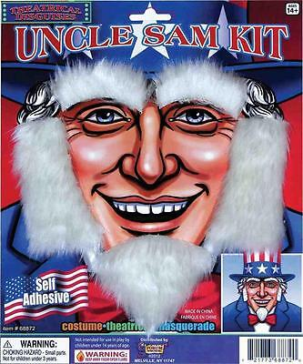 Uncle Sam Facial Hair Disguise Kit Eyebrows Sideburns and Goatee