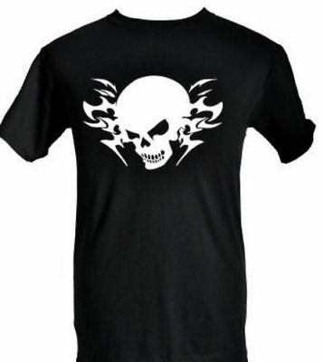 SKULL TATTOO DESIGN ~ GOTHIC STYLE ~ ADULT BLACK T-SHIRT with WHITE SIZE S-XXL