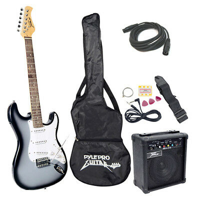 Pyle Pro PEGKT15GS Beginner Silver Electric Guitar Package Amp Speaker XLR Cable