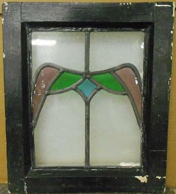 "OLD ENGLISH LEADED STAINED GLASS WINDOW Cute Tiny Wing Design 12.75"" x 14.75"""