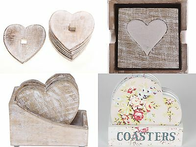 Shabby Vintage Chic Rustic Style Heart Shaped Tea Coffee  Wooden Coasters