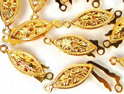 25 Gold Plated Brass Fish Hook Clasps Filigree Horse Eye Oval Fishhook 20x6mm