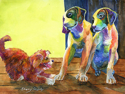 Let's Play German Shorthaired Pointer 8x10 Print Dog by Sherry Shipley