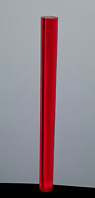 "Clear Red Translucent Acrylic Plexiglass Lucite Rod 1"" Diameter 12"" Inch Long"