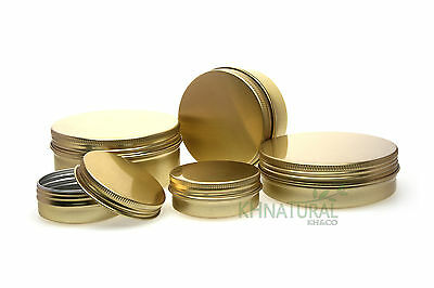 Empty Aluminium Container Cosmetic Pot Tin GOLD Screw lid Cream Jar 30-150ml