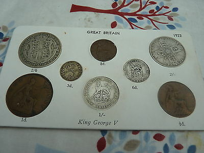 1922 Full Set of 8 Coins in Display Card - Ideal Birthday Present - Half Silver