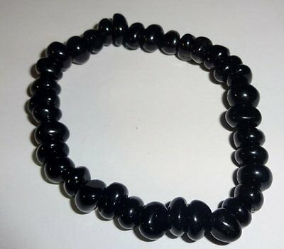 Black Obsidian Crystal Healing Gemstone Tumbled Beaded Nugget Stretch Bracelet