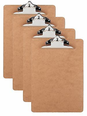 New 4 Brown Clipboards Letter Size Hardboard Clip Boards Quantity Four