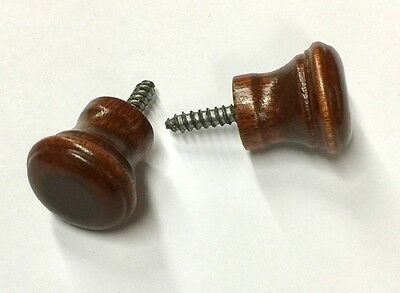 Wood Piano Fallboard/Key Cover/Desk Knobs, 1 Pair, Brown Mahogany Stain