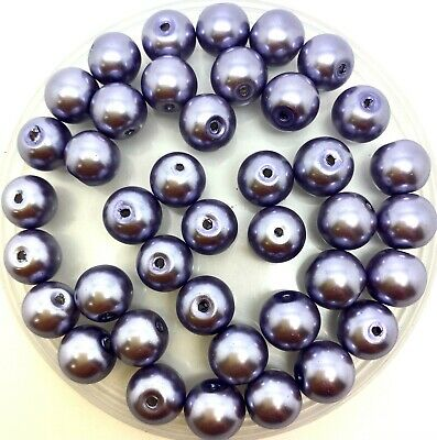 10mm Glass faux Pearls - Blue-Grey (40 round pearl beads) jewellery making craft